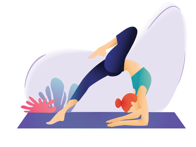 Poetic and contrasting yoga 2d character web illustration new year 2019 women rest digital art illustrator sports chill relax vector design healthly life center character design bright color yoga perdana meditation