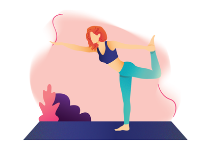 Warrior - Yoga chill relax yoga center rest digital art women web illustration bright color morning benefits routine lifestyle meditation workout yoga asana 2d character design