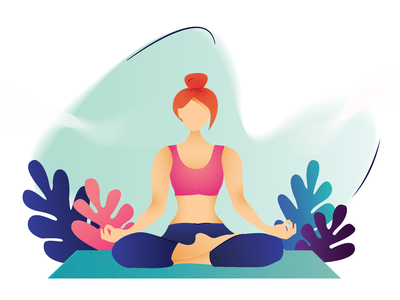 Yoga - Easy Pose 2019 new year eve healthy lifestyle yoga poses flat graphic vector design character design bright color yoga illustration natural