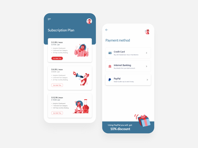 Subscription plan mobileapp visual design illustration minimal app clean colors design saas app purchases requests payment method fintech mobile app finance financial services e-finance credit card design system subscriptions