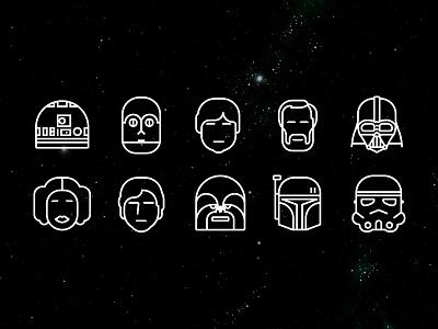 SW pictograms luke skywalker darth vader stormtrooper r2d2 c3po kenobi leia chewbacca boba fett star wars han solo