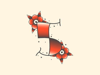 5 - 36 Days of Type line gradient black red ink flowers numbers 5 tattoo 36 days of type