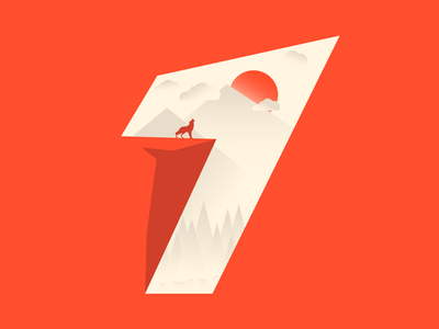 7 - 36 Days of Type cliff red forest trees moon sun clouds mountains howling wolf nature 7 36 days of type