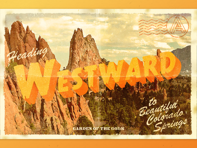 Westward adventure nature mail lettering typography garden of the gods colorado springs colorado mountains travel westward west post card postcard