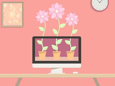 Pixels to Petals dribbble weekly warm-up flower pot desk pink pixels pixel art computer mac garden flowers