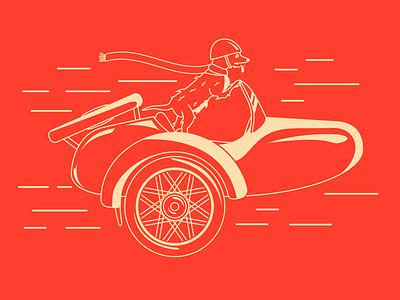 Sidecar Sidekick two colors speed helmet red motorcycle dog sidekick sidecar