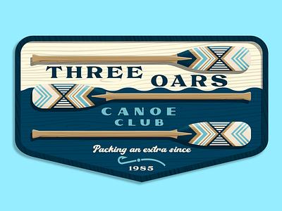 Three Oars Canoe Club vector wood river lake paddle par adventure club canoe water blue badge sign