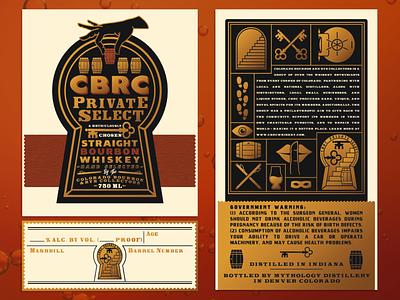 CBRC Private Select Bourbon Label barrel thief secret society secret speakeasy alcohol whiskey bourbon product design label design packaging label