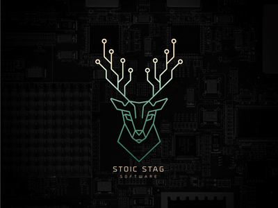 Stoic Stag Software black green code coding computers software buck deer stag brand logo branding
