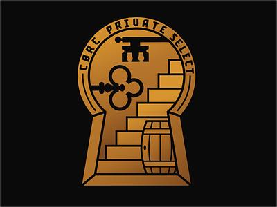CBRC Private Select Logo club gold black keyhole stairs bourbon whiskey barrel key secret society secret