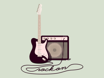 Rock On! green fender stray rock on music rock n roll rock amp guitar