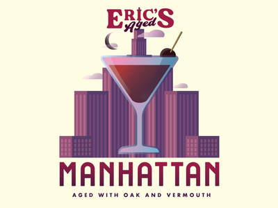 Eric's Aged Manhattan Cocktail Label purple city new york rye alcohol whiskey drink cocktail manhattan packaging label
