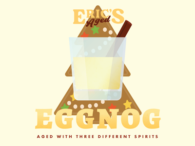 Eric's Aged Eggnog Cocktail Label cinnamon gingerbread yellow tan tree holiday christmas eggnog alcohol cocktail