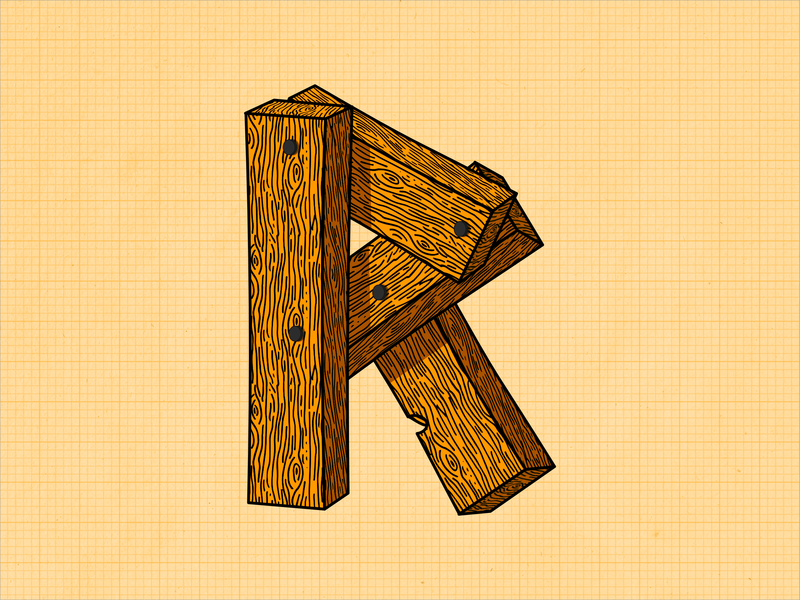 R brown yellow nail blueprints wood art r 36days-r 36daysoftype-r 36daysoftype06 36daysoftype affinity designer typography series letters alphabet