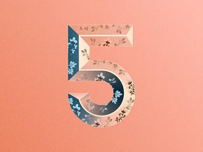 5 blue pink red flowers flower number five 5 36days-5 36daysoftype-5 36daysoftype06 36daysoftype illustration vector affinity designer typography letters alphabet