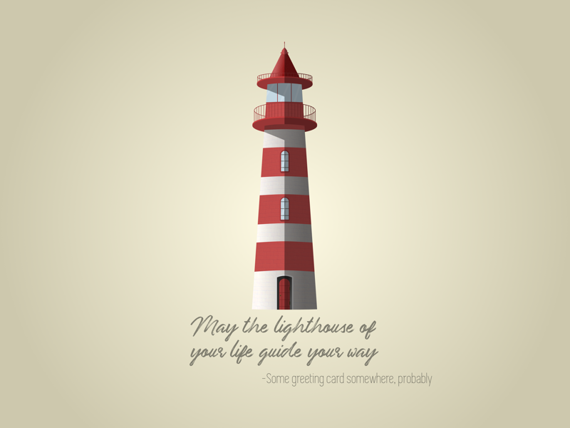 Lighthouse vector quote funny shadow saying greeting card white red sea lighthouse