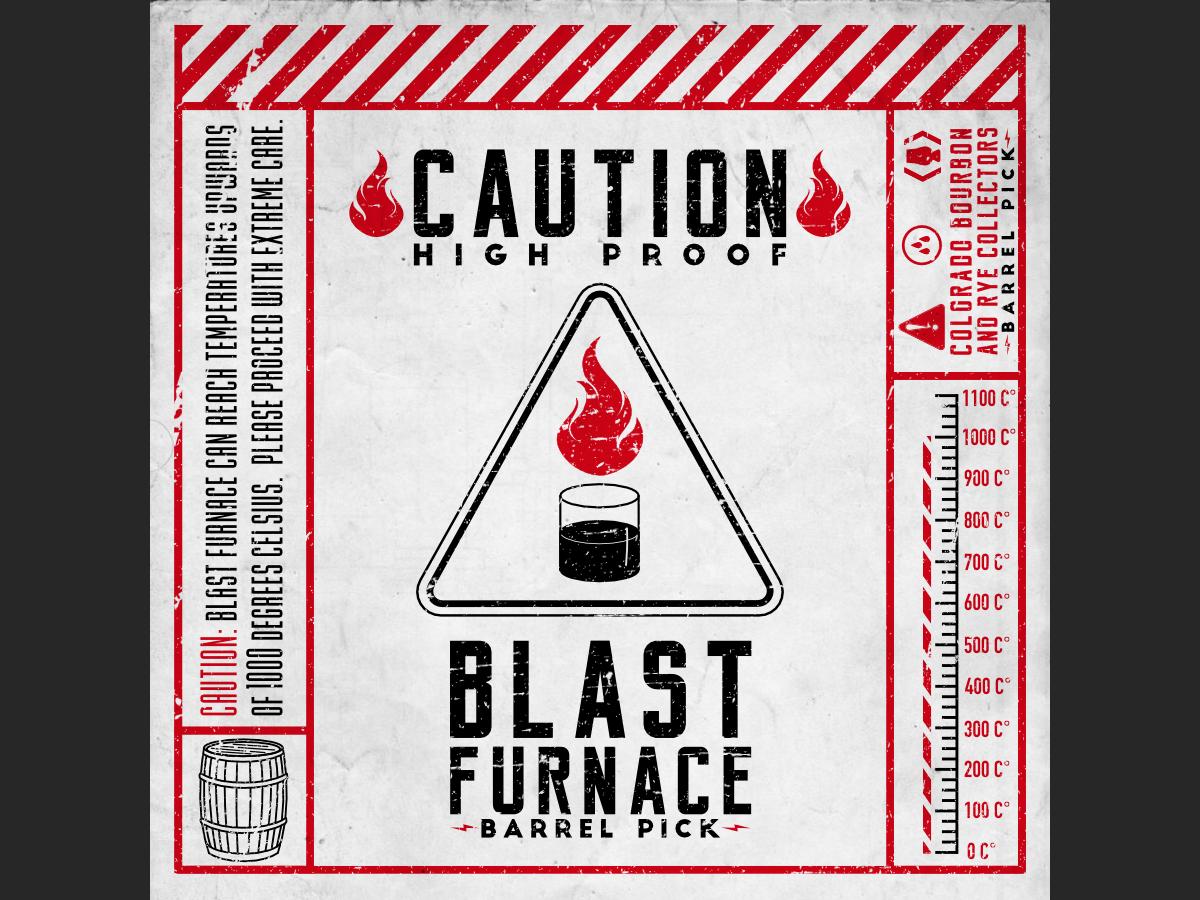 Blast Furnace colorado springs colorado careful caution vector label black red warning alcohol barrel rye bourbon whiskey sticker affinity designer design illustration