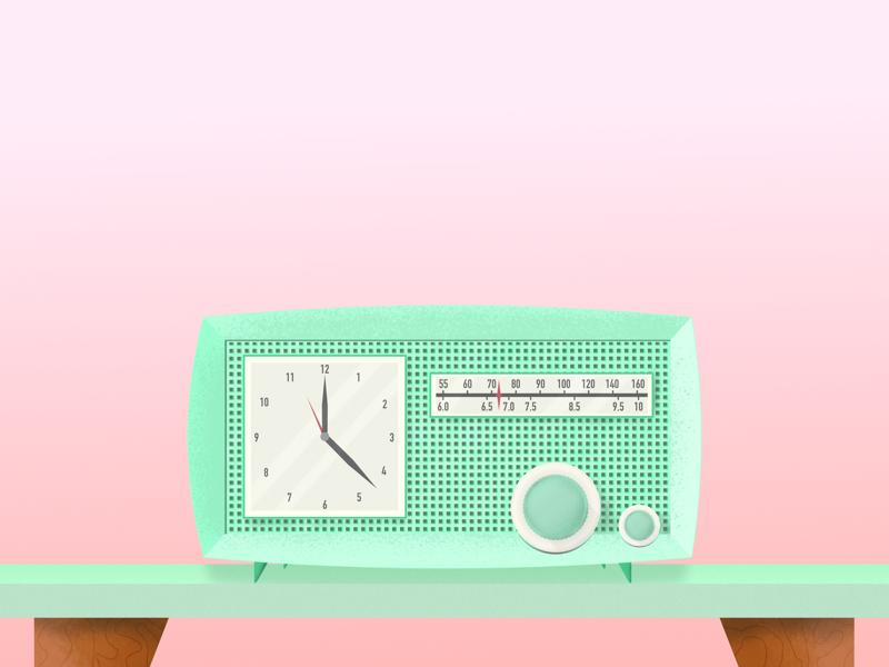 Retro Clock Radio time 40s 60s 50s old school illustration vector designer design art interior design table pink green radio clock retro