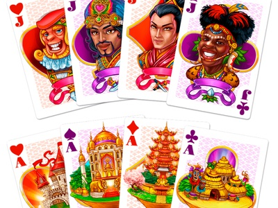 Cards masks sakura elephants totems lanterns flags palace castle spades diamonds hearts clubs suits cards graphic design digital art slot design gambling game art