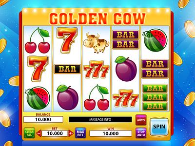 Golden Cow watermelon sevens seven plum cow classic slot classic cherry cherries casino gambling slot design slot machine game art