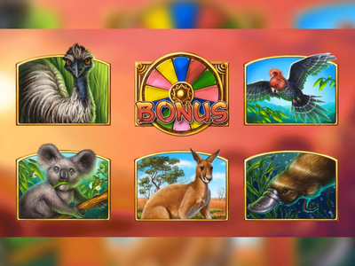 Outback Wildlife animation wheel of fortune bird kangaroo savannah koala desert australian australia platypus gambling symbol digital art game art slot machine