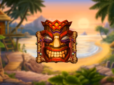 Three Tiki shaman. spear palm tambourine torch culture detachment customs traditions totem masks mask slot design gambling game art