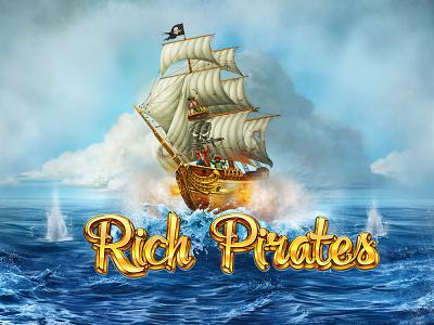 Rich Pirates treasure chest rope saber pistol battle jolly roger bones skull sail black ship fortune coins steering wheel pirates gambling slot design slot machine game art
