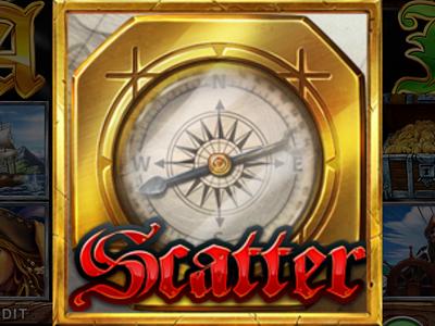 Scatter symbol – compass. dagger map spyglass cannonballs cannon treasure chest rope saber pistol battle jolly roger game design symbol animation digital art slot design gambling slot machine game art