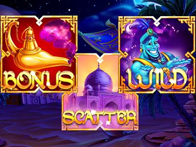 Aladdin princess pouch lamp jewels jasmin horse gin gems dagger carpet plane amphora aladdin animation game design digital art slot design gambling game art slot machine