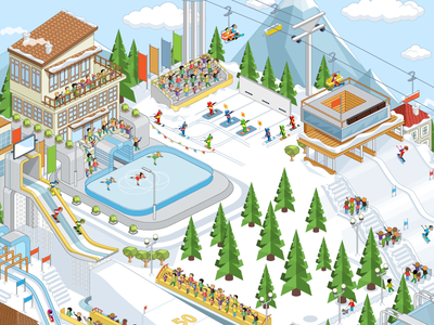 Winter Sports skating. balloon parachute jumping springboard hockey alpine skiing ski lifts slides ice skates skis competitions sports sport winter slot design slot machine game art