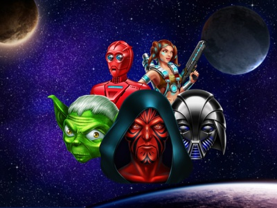 Star Wars stars millennial falcon darth maul lightsaber warrior princess robots jedi galactics planets space wars star slot machine game art slot design