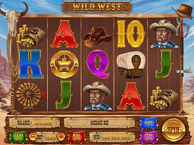 Wild West prairies night mountains moon marshal lasso horseshoe horse hat criminal cowboy coins canyon bandit bag badge axe graphic design slot machine game art