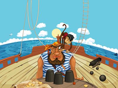 Pirate Island monkey sail flag cannonballs hook chest spyglass sabers barrel cannon treasures map pistol bones skull jolly roger mark black island pirates