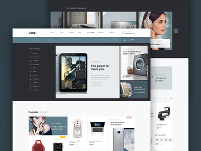 E-lab eCommerce PSD template creative magento website template shopify design retail store psd electronics shop ecommerce