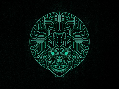 Neuro funk express tshirt sportswear edm funk skull circuit vector design apparel monoline lineart