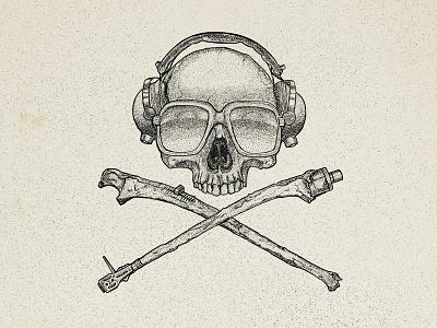 Skull and crossfaders design beats headphones dj design edm skull hiphop stippling