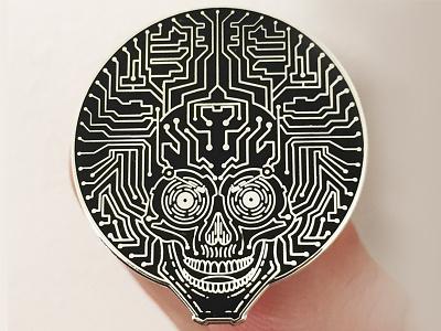 Neuro Funk Express Pin pin lineart monoline apparel design vector circuit skull funk sportswear