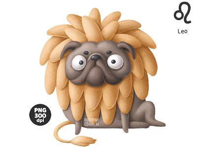 Funny pug - zodiac sign Leo pug zodiac dogs drawing dog character doodle cartoon illustration