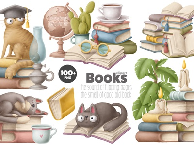 Books clipart library reading cartoon teacher owl aducation back to school study illustration clipart cats books