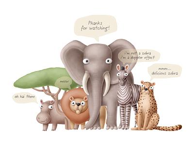 funny animals clipart creativemarket cartoon nursery funny safari africa character animals illustration