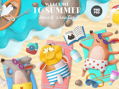 beach creator animals vacation tropical creative market creation kit design dogs beach summer character cartoon illustration