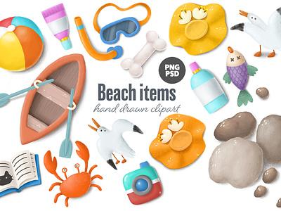 summer beach clipart creative market clipart ocean sea vacation tourism tropical beach summer cartoon illustration