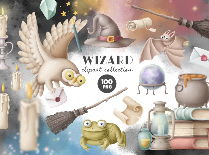 Wizard clipart collection stickers digital download design kit creative market halloween wizarding world owl clipart magical magic witch wizard drawing character cartoon illustration