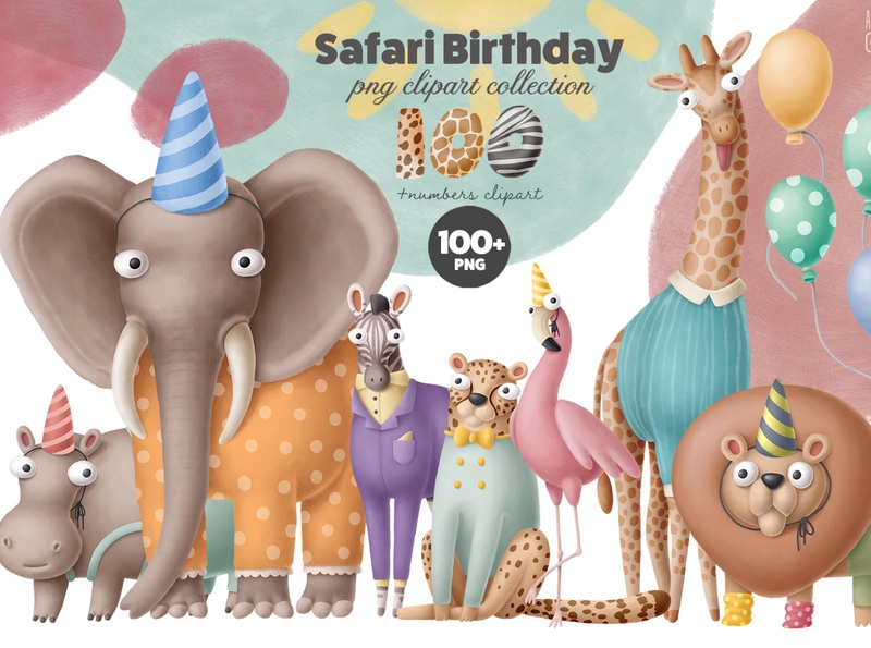 Safari birthday party collection africa summer safari design kit scene creator party birthday drawing animals doodle character cartoon illustration