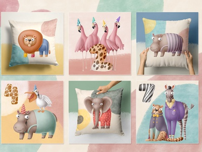 Super cute Birthday collection kids character design hippo giraffe zebra clipart birthday africa summer safari animals doodle character cartoon illustration