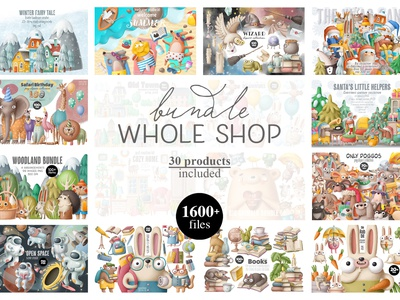Whole shop bundle commercial illustration digital illustration design illustration art graphic bundle nursery drawing animals doodle character cartoon illustration