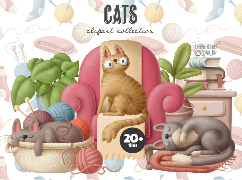 Cats clipart collection creative market scenecreator cats cat clipart drawing design animals doodle character cartoon illustration