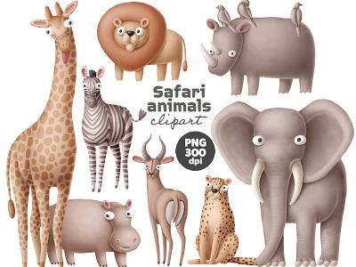 Safari animals clipart safari africa creative market zebra giraffe drawing design animals doodle character cartoon illustration