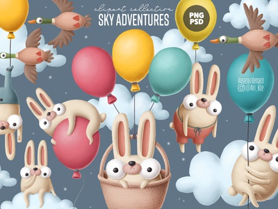 bunny with balloons clipart creative market cute funny easter bunny clipart nursery drawing design animals doodle character cartoon illustration
