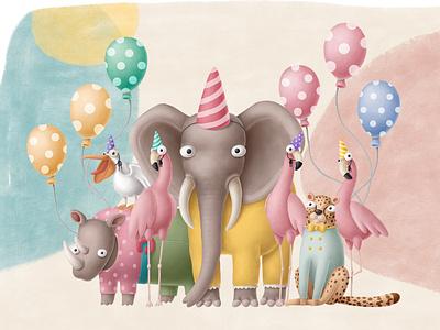 Safari birthday clipart collection birthday party africa safari illustrations birthday creative market clipart nursery design animals doodle character cartoon illustration